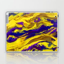 OIL ABSTRACT PAINTING - PLAY OF YELLOW AND BLUE Laptop & iPad Skin