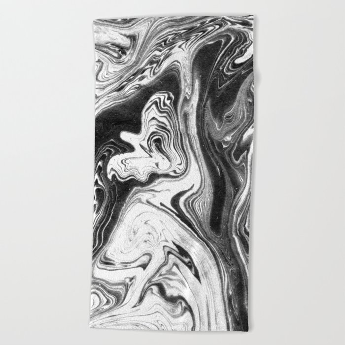 Mishiko - spilled ink abstract marble painting black and white minimal modern marbled paper water  Beach Towel
