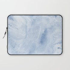 Yasuko - spilled ink japanese monoprint marble paper cell phone case with marble pattern blue pastel Laptop Sleeve