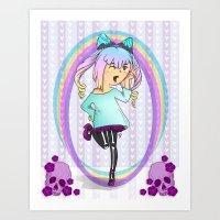 pastel goth Art Prints featuring Girl Pastel Goth by Fanuna