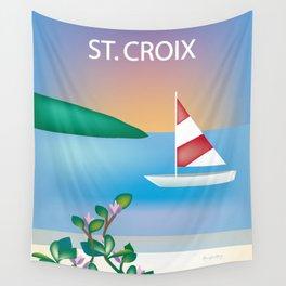 St. Croix, Virgin Islands- Skyline Illustration by Loose Petal Wall Tapestry