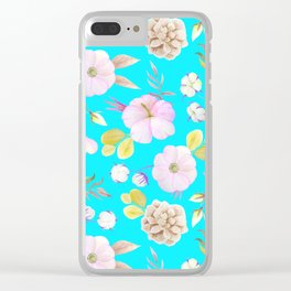 Artist hand painted pink lavender teal watercolor floral Clear iPhone Case