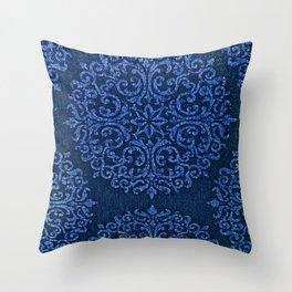 Vintage Blue Paisley Damask Pattern Throw Pillow