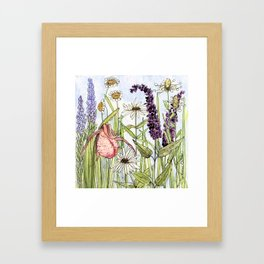 Lady Slipper Orchid Woodland Wildflower Watercolor Framed Art Print
