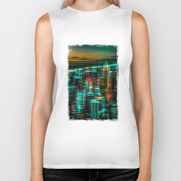 New York - the night awakes (green) Biker Tank