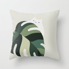 Cat and Plant 12B Throw Pillow