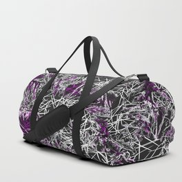 psychedelic geometric sketching abstract in pink purple black and white Duffle Bag