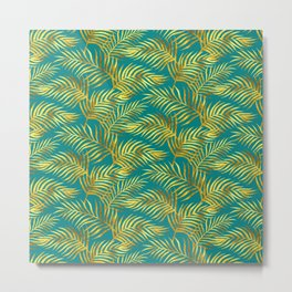 Palm Leaves_Gold and Teal Metal Print