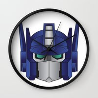 optimus prime Wall Clocks featuring Optimus Prime by Tombst0ne