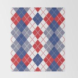 Patriotic Argyle Throw Blanket