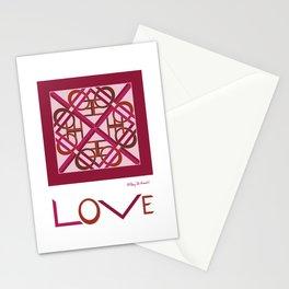 "Interlaced Love Mandala with ""LOVE"" - Wine Rose Stationery Cards"