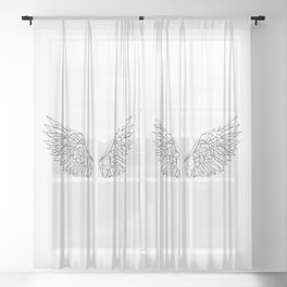 Polygonal wings Sheer Curtain
