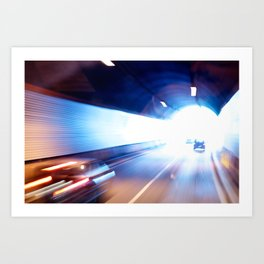 Exit of a tunnel. Blurred motion Art Print