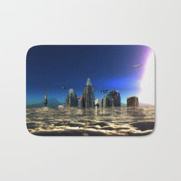 City In The Clouds (dark) Bath Mat