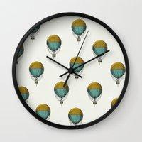 hot air balloons Wall Clocks featuring Hot Air Balloons by Juste Pixx Designs