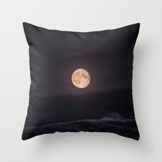 Full Moon over the Ocean Throw Pillow