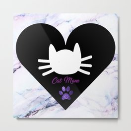 Cat Mom on Purple Marble Metal Print
