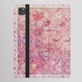 N45 - Pink Vintage Traditional Moroccan Boho & Farmhouse Style Artwork. iPad Folio Case