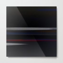 Minimalist Grey Lines Abstract Art Design Metal Print