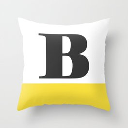 Monogram Letter B-Pantone-Buttercup Throw Pillow