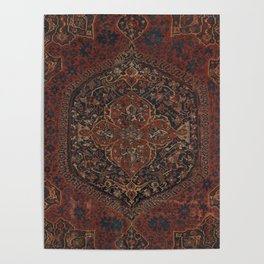 Boho Chic Dark IV // 17th Century Colorful Medallion Red Blue Green Brown Ornate Accent Rug Pattern Poster