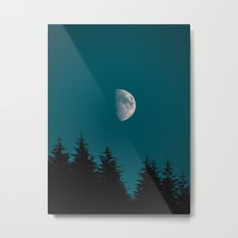 Gibbous Moon Over Pine Tree Silhouette Blue Sky Nature At Night Metal Print