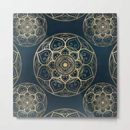Mandala Night Blue Metal Print