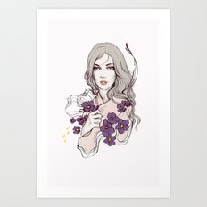 Birth Flower II - Violet Art Print