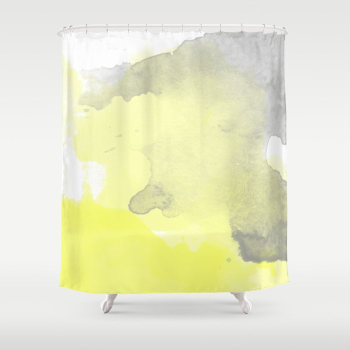 Yellow And Gray Ombre Watercolor Shower Curtain By Irislynn