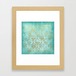 Mermaid Gold Aqua Seafoam Damask Framed Art Print