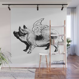 Pig with Wings   Flying Pig   When Pigs Fly   Pigs with Wings   Vintage Pig   Wall Mural