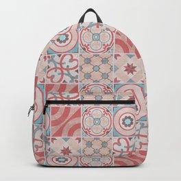 Patchwork pattern - Quilt Design - red, pink, blue Backpack