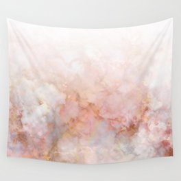 Beautiful Pink and Gold Ombre marble under snow Wall Tapestry