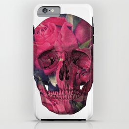Vintage Anatomical Skull Grunge Pink Roses iPhone Case