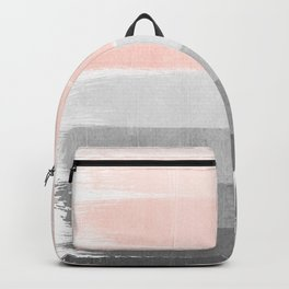 Color story millennial pink and grey transition brushstrokes modern canvas art decor dorm college Backpack