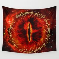 daenerys targaryen Wall Tapestries featuring Sauron The Dark Lord by neutrone