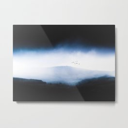 Misty Mountains Low Cloudy Sky Birds Landscape Metal Print