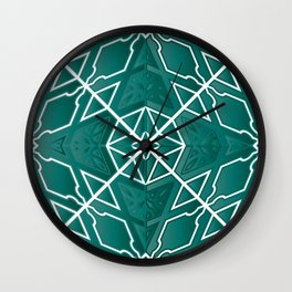 Graphic Star Burst in Teal Wall Clock