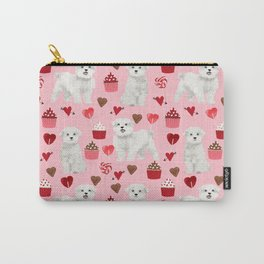 Maltese valentines day cute pet gifts for dog person maltese dog breed pattern with hearts Carry-All Pouch