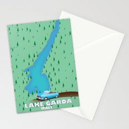 Lake Garda Italy travel poster map Stationery Cards