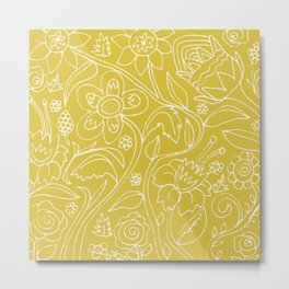 Garden Floral Drawing on Yellow Metal Print