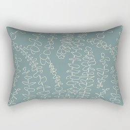 Round Eucalyptus Leaf Toss in Sage Green + Natural Rectangular Pillow