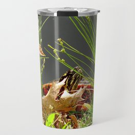 Turtle hiding in the leaves Travel Mug