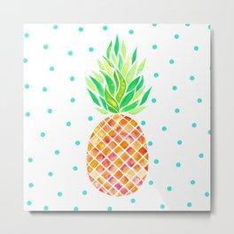 Tangerine Pineapple Metal Print