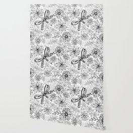 Dragonfly and flowers doodle Wallpaper