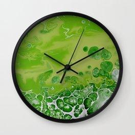 Caribbean Green - Lime Green Bright Fluid Art Wall Clock