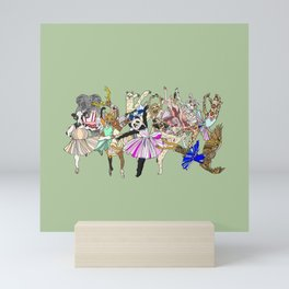 Animal Ballet Hipsters - Green Mini Art Print