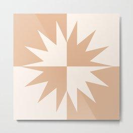 Modern Grid Sun Burst Yin Yang Balance Design Creamsicle Metal Print