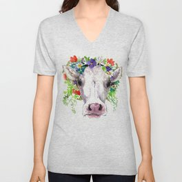 Cow and Flowers, Cow head floral Farm cattle head famr animals Unisex V-Neck