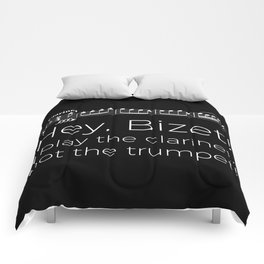 Hey Bizet! I play the clarinet, not the trumpet! (black) Comforters